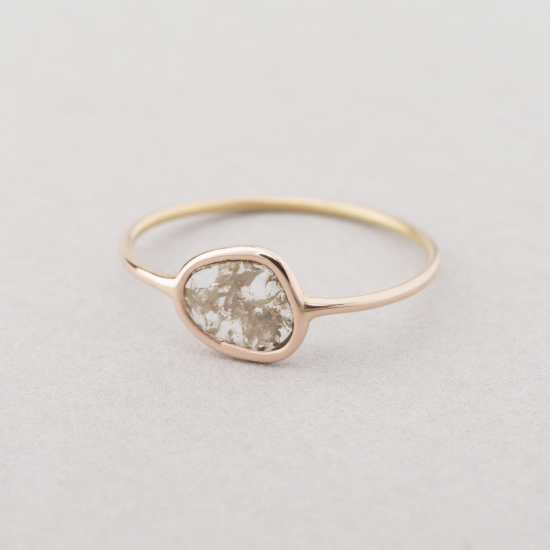 Grey slice diamond ring